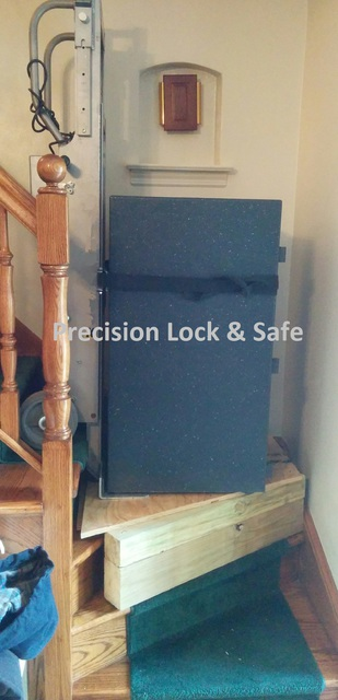 Residential safe delivery up stairs requiring the use of a custom made wood platform