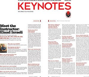 National Locksmith Association Magazine 'Keynotes' Article about Elaad as an Instructor